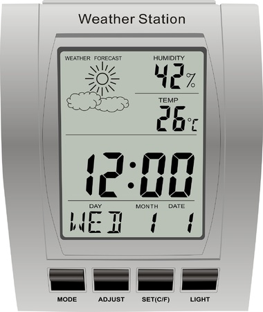 digital numbers: weather station clock vector isolated meteorology Illustration