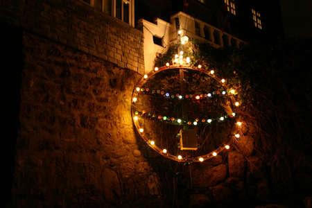 Christmas Pudding in christmas lights photo