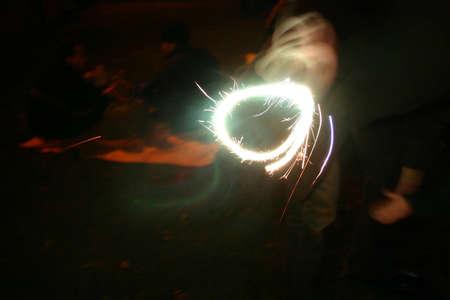 guy fawkes night: Sparkler & child Stock Photo
