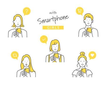 Illustration of a woman using a smartphone
