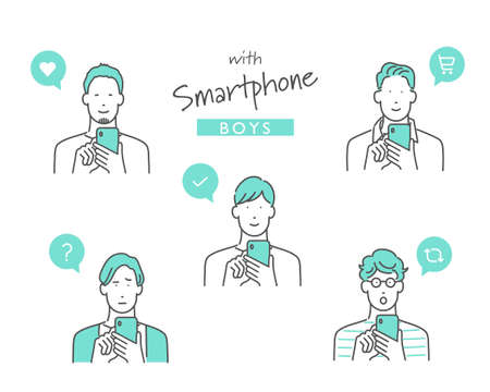 Illustration of a man using a smartphone