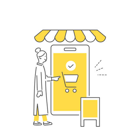 Image illustration to pay by electronic payment of the smartphone