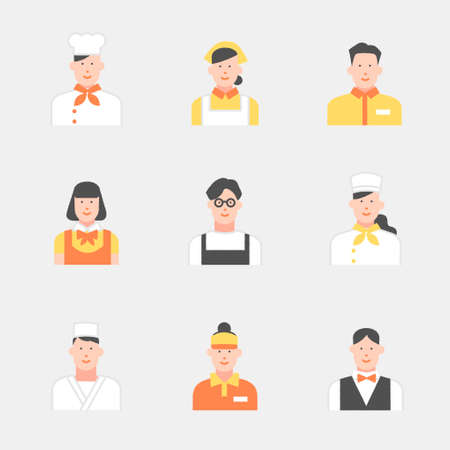 People working in the food and beverage industry Illustration material set
