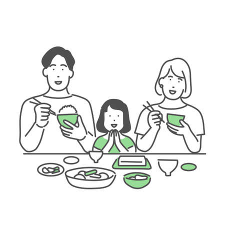 Illustration of eating with a family group