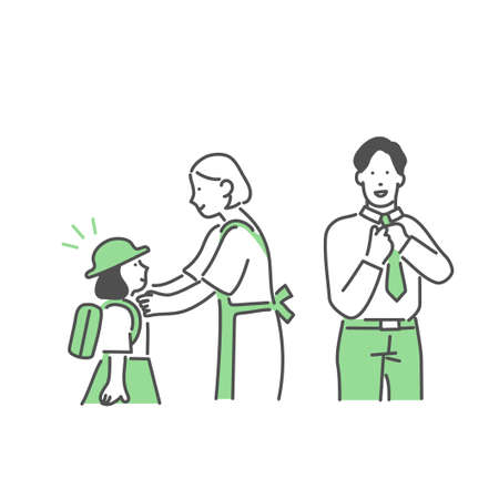 Illustration of a family getting ready for the morning