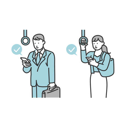 a person who touches a cell phone on a train