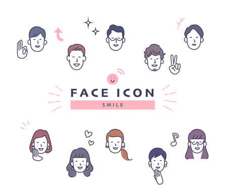 Men and Women Face Icon Set