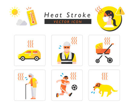 Heat stroke caution icon set