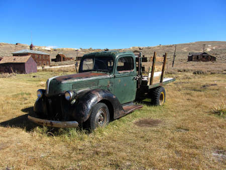 bodie: Bodie, USA - October 20, 2011 - Abandoned vintage car in Bodie Ghost Town