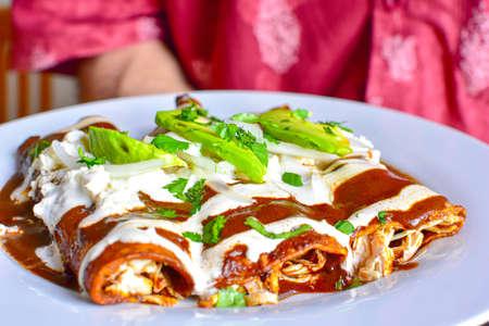 Deliciosas enchiladas de excelente comida mexicana, mole y queso, comida típica mexicana. Foto de archivo