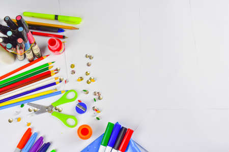 School supplies for back to school, bright colors.