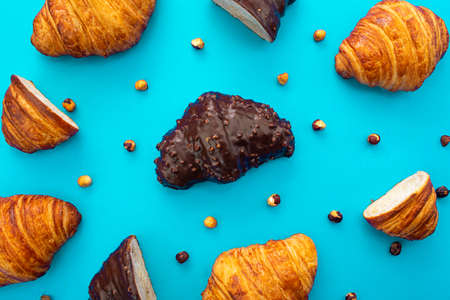 delicious chocolate croissant with pattern style