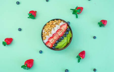 matcha salad with berries,oatmeal,coconut with special pattern style 版權商用圖片