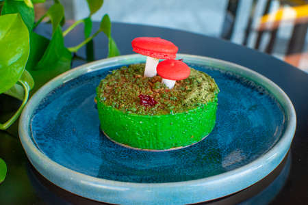 delicious culinary cake with bold colors and artistic forms, creative pastries
