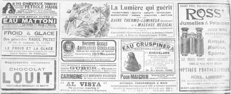 Old French publicity from the late 19th century from a newspaper