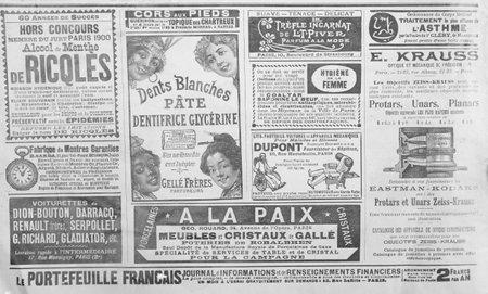 Oude Franse publiciteit uit de late 19e eeuw uit een krant