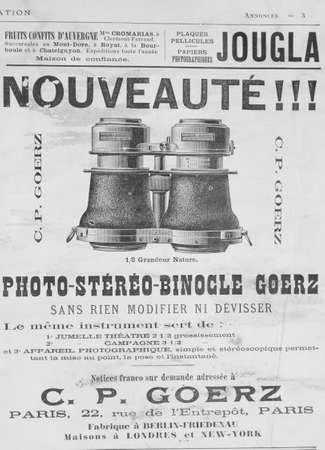 Old French publicity on the theater binoculars of the late 19th century from a newspaper