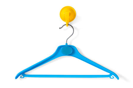 clotheshanger: Blue Clotheshanger Hanged On A Yellow One