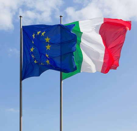 Italy and Europe Flags Reklamní fotografie - 26938840