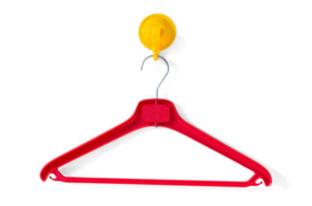 clotheshanger: Red Clotheshanger Hanged On A Yellow One