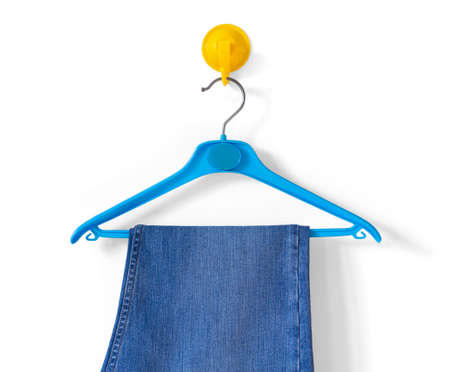 clotheshanger: Clotheshanger With a Pair of Blue Jeans