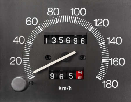 kilometer: Automobile Analogue Speedometer and Odometer Stock Photo