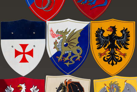 allegorical: Collection of various coats of arms with allegorical creatures