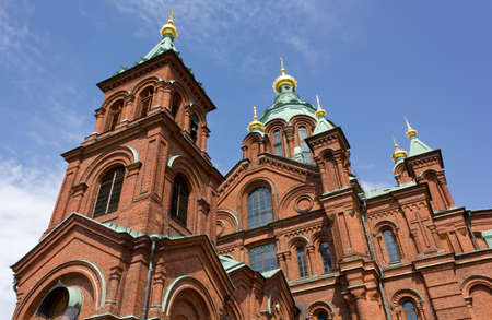 View of the exterior of the Uspenski orthodox cathedral in Helsinki, Finland photo