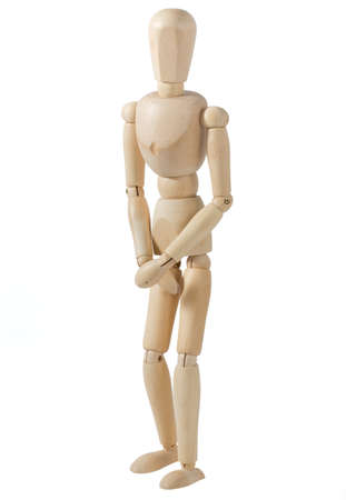 private parts: Wooden Mannequin Covering His Private Parts