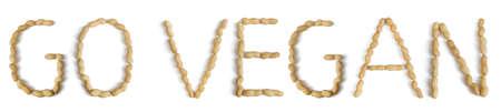 oracion: Frase escrita Usando letras hechas de cacahuetes Foto de archivo