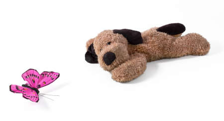 Lying Plush Dog With Purple Silk Butterfly Stock Photo