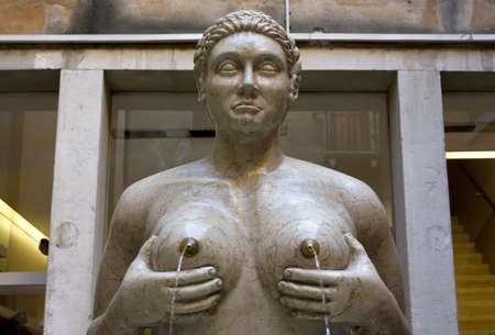 nipple breast: The Fountain of Tits in Treviso, Italy