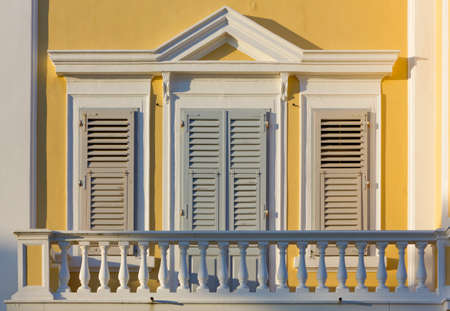 neoclassic: Closeup on a balcony of a neoclassic building Stock Photo