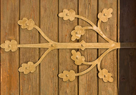 country church: Detail of an old wooden country church door