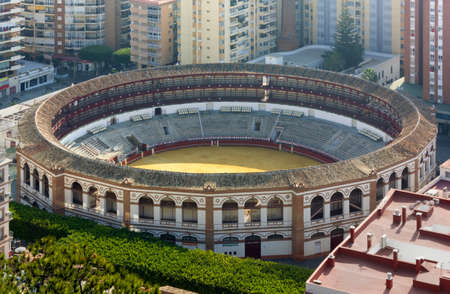 toros: La Malagueta Plaza de toros in Malaga, Spain, seen from above Editorial