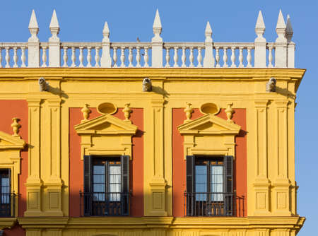 episcopal: Detail of the facade of the Episcopal Palace in Malaga, Spain
