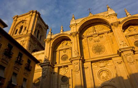 renaissance: Renaissance cathedral of Granada, Spain, at sunset