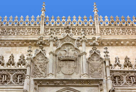 crown spire: Detail of the facade of the Royal Chapel in Granada, Spain Stock Photo
