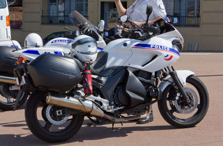 a white police motorcycle: French police motorbikes Editorial