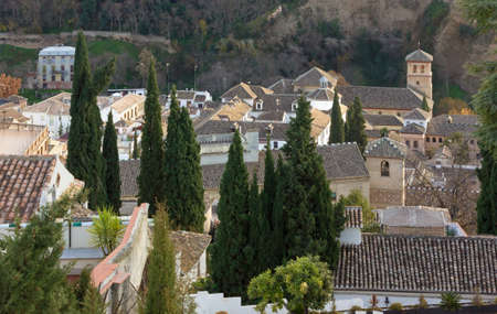 historic district: View from above of Albaicin historic district in Granada, Spain