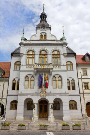 Neogothic town hall in Novo Mesto, Slovenia