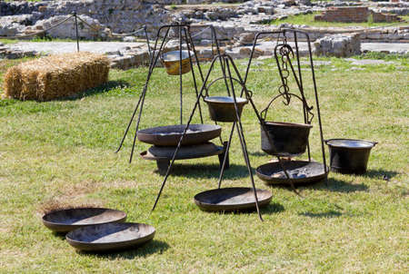 brazier: Ancient metal pots in a gallic encampment at a historical reenactment