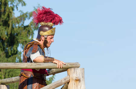 AQUILEIA, Italy - June 18, 2017 : Ancient Roman legionary commander just before the final battle at the local annual historical reenactment