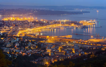 Trieste, Italy, cityscape in the late evening