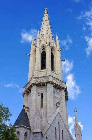Belfry of the neogothic Evangelical Lutheran Church in Trieste, Italy Stock Photo