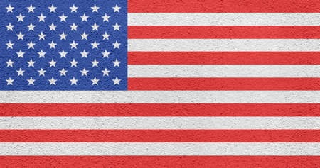 Flag of the United Staes of America painted on an exterior wall of a building