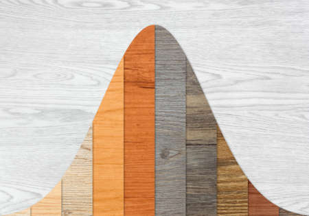 Wood textured graph bars following a normal distribution over a white wood background Banco de Imagens