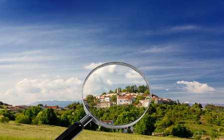 Village of Stanjel on the Slovenian Karst plateau under the magnifying glass Stock Photo