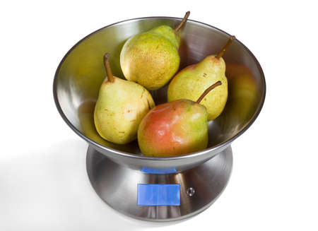 Modern electronic metal kitchen weighing scales with pears