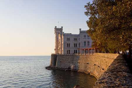 Castle of Miramare in Trieste, Italy, during a winter sunset